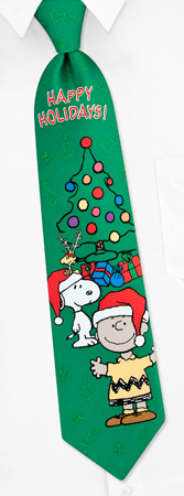 Happy Holidays Tie by Peanuts Gang -  Green Polyester - neckties.com