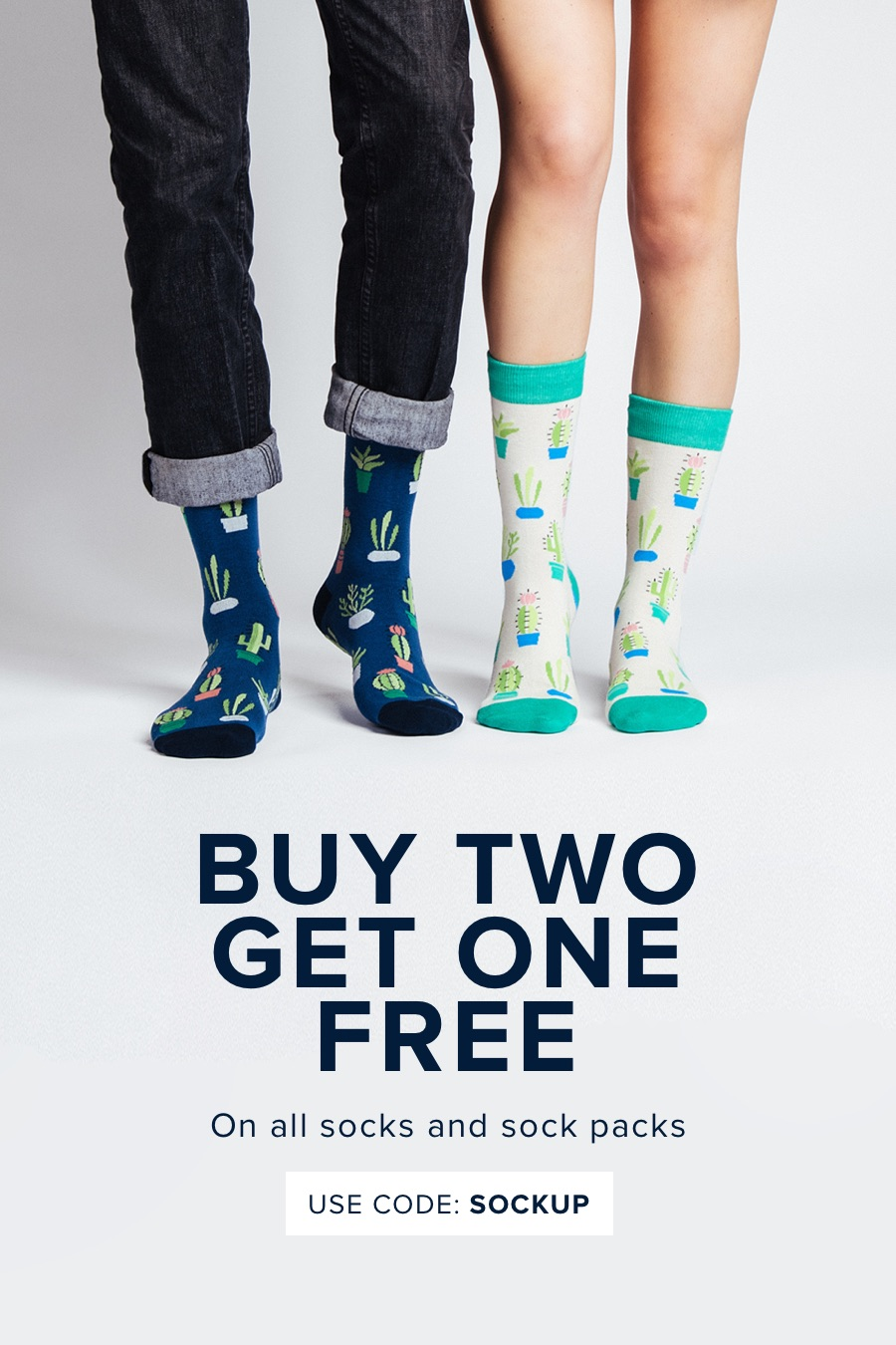 Buy 2 Get 1 Free on all Socks with code SOCKUP